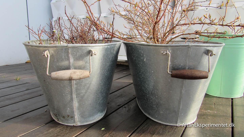 Zinkbaljer før og efter fornyelse med terrasseolie